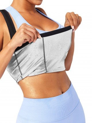 PU Coating Silver Underbust Sweat Tank Top Lose Weight