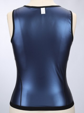 Blue Sweat Vest With Zipper Large Size Slimming Stomach