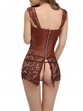 Medium Control Brown Back Zipper Lace-Up Corset Set Plus Size