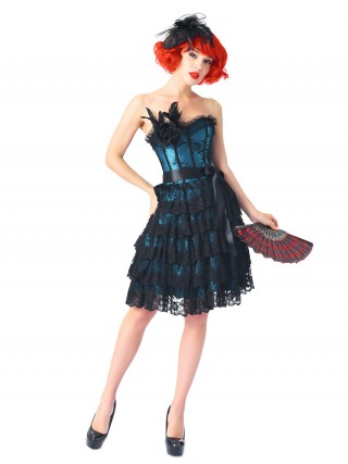 Eye-Catching Blue Bandeau Lace Overlay Corset Dresses Feather