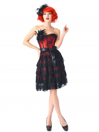 Luxury Red 14 Plastic Bones Corset Dresses Strapless Superfit