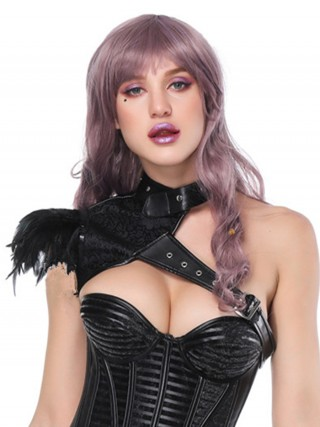 Abdominal Control Black Feather Punk Shawl Neck Decoration