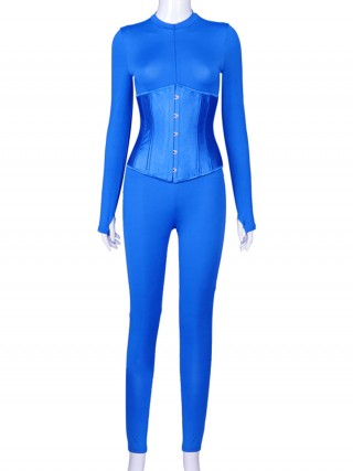 Blue Long Sleeve Jumpsuit Corset Set With Thumbhole Workout