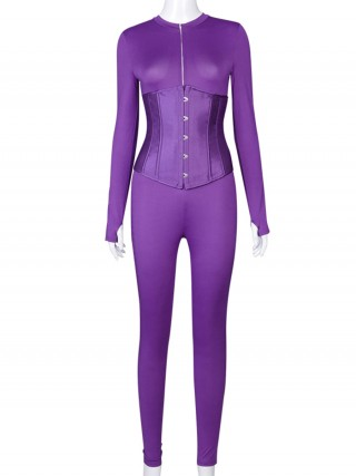 Purple Solid Color Long Sleeve Jumpsuit With Corset Latest Fashion