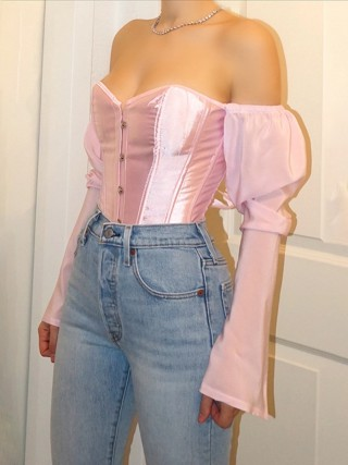 Pink 12 Bones Corset Top Backless Drawstring Moisture Wicking