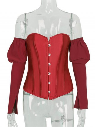 Red Back Lace-Up Long Sleeve Corset Top Tight Fitting