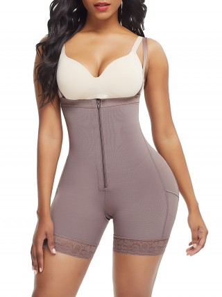 Coffee Color Full Body Shaper Underbust Zipper Straps Potential Reduction