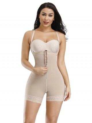 Figure Shaper Skin Zipper Plus Size Detachable Straps Body Shaper