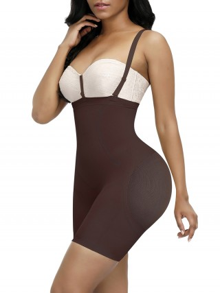 Breathable Dark Coffee Seamless Full Body Shaper Sheer Mesh Natural Shaping