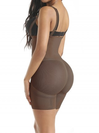 Light Coffee Single Layer Straps Full Body Shaper Instant Slimmer