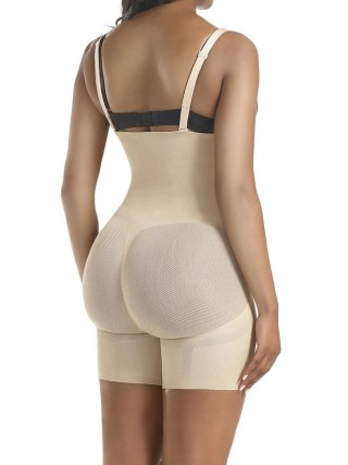 Extra Firm Control Skin Color Full Body Shaper Sheer Mesh Button Tab