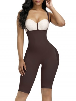 Tummy Trimmer Dark Coffee Full Body Shaper Thigh Length Mesh Sexy