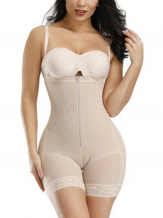 Moderate Control Skin Color Full Body Shaper Two Plastic Bones Straps