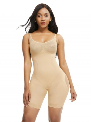 Skin Color Adjustable Strap Plus Size Full Body Shaper Seamless