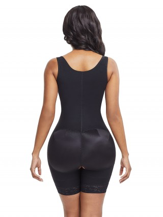 Fitted Curve Black Plus Size Underbust Bodysuit Zipper Tight