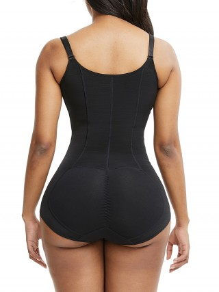 Black Large Size Body Shaper Bodysuit Front Zipper Good Elastic