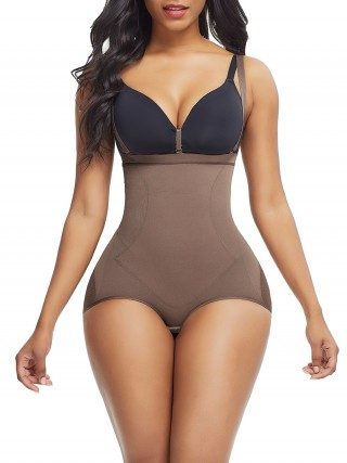 Comfortably Light Coffee Color Sheer Mesh Panty Shapewear Open Crotch Comfort