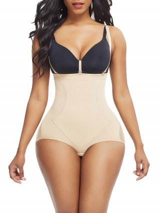 Elasticated Skin Color Plus Size Seamless Shapewear Strap Buckle Stretch