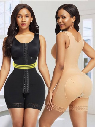 Unique Skin Color Wide Straps Crotchless Bodysuit Hooks Weight Loss