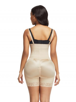 Enhancer Skin Color Underbust Zipper Body Shaper Lace Trim