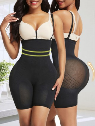Stretch Black High Waisted Shapewear With Bra Clips Best Materials