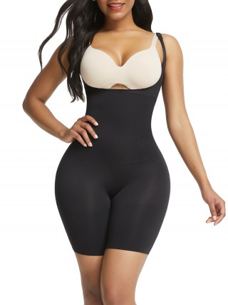 Black Seamless Full Body Shaper With Adjustable Straps Anti-Slip