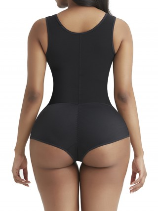 Fabulous Fit Black 3 Rows Hooks Body Shaper High Cut For Women