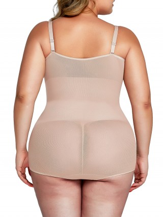 Nude Big Size Body Shaper Adjustabe Straps High-Compression
