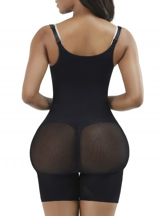 Black High Waist Full Body Shaper Mesh Slimming Legs