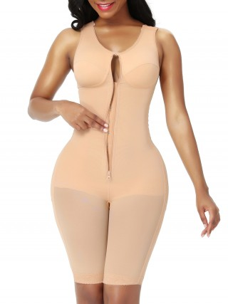 Full Body Shaper Inner Hooks Dark Skin Zipper Elastic Slimming Belly