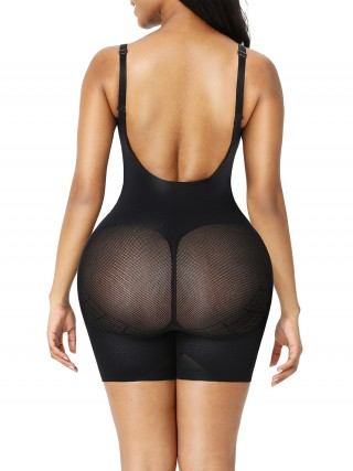 Black Seamless Low Back Full Body Shapewear Mesh Slimming Tummy