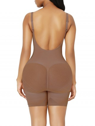 Light Coffee Best Plus Size Full Body Shaper Open Crotch Light Control