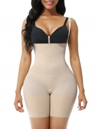 Nude Seamless Body Shaper Shorts Open Gusset Slimming Waist