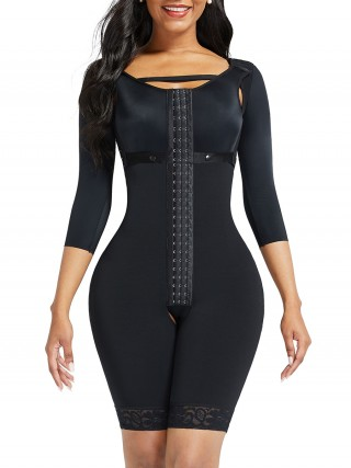Black Lace Trim Hourglass Body Shaper With Sleeves Curve Shaper