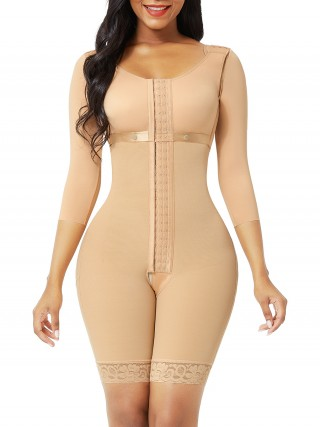 Dark Skin Butt Lifting Hooks Straps Full Body Shapewear Breathable