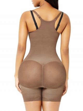Light Brown Seamless Body Shaper Open Gusset Plus Size Slim Girl