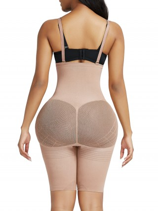 Skin Color Knee Length Shapewear Shorts Open Crotch Slimming Stomach