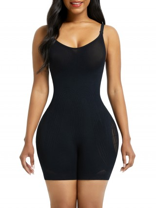 Black Open Gusset Seamless Bodysuit Shapewear Secret Slimming