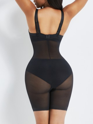 Black Removable Straps Mesh Full Body Shaper Curve Smoothing