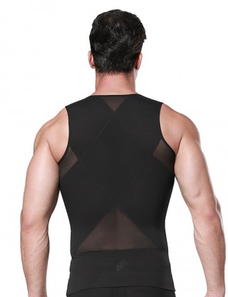 Invisible Figure Shaping Black Mesh Zipper Mens Slimming Undershirt