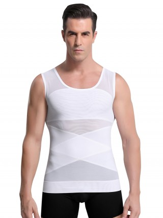 Extra Sexy White Men's Tank Shaper Double Layers Sheer Mesh Comfort