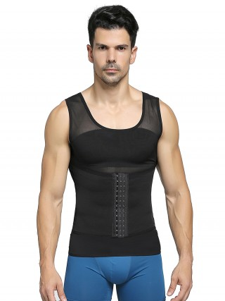 Contour Black Three Rows Hooks Men's Tank Adjustable Band Tummy Control