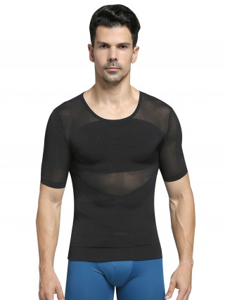 Affordable Black Crew Neck Men's Shaper X-Shape Crossover Abdominal Control