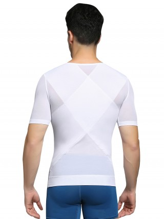 Effective White Men's Shaper Mesh Short Sleeve Double Layers Good Elastic