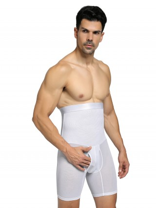 Meticulous Design White Men High Rise Booty Lifter 2 Boned Compression