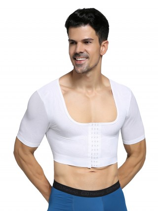 Ultimate White Short Sleeves Man Shaper Crop Top For Beauty