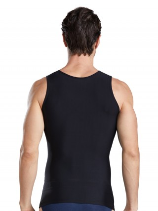 Skin-Friendly Black Men's Tank Double Layers Round Collar Figure Sculpting