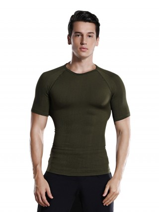 Unique Green Crew Neck Solid Color Men's Top Shaper Calories Burning