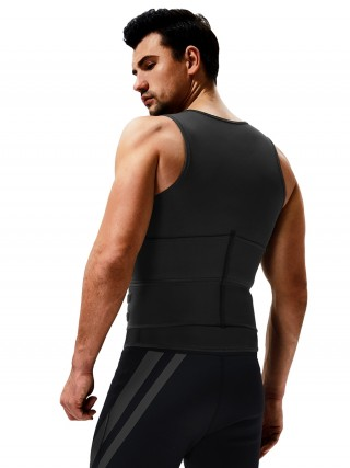 Natural Shaping Black Mens Neoprene Sauna Vest Ddouble Belt High Power
