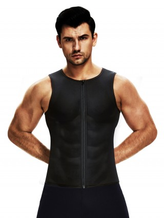 Abdominal Slimmer Black Men's Neoprene Slimming Vest With Zipper Midsection Control